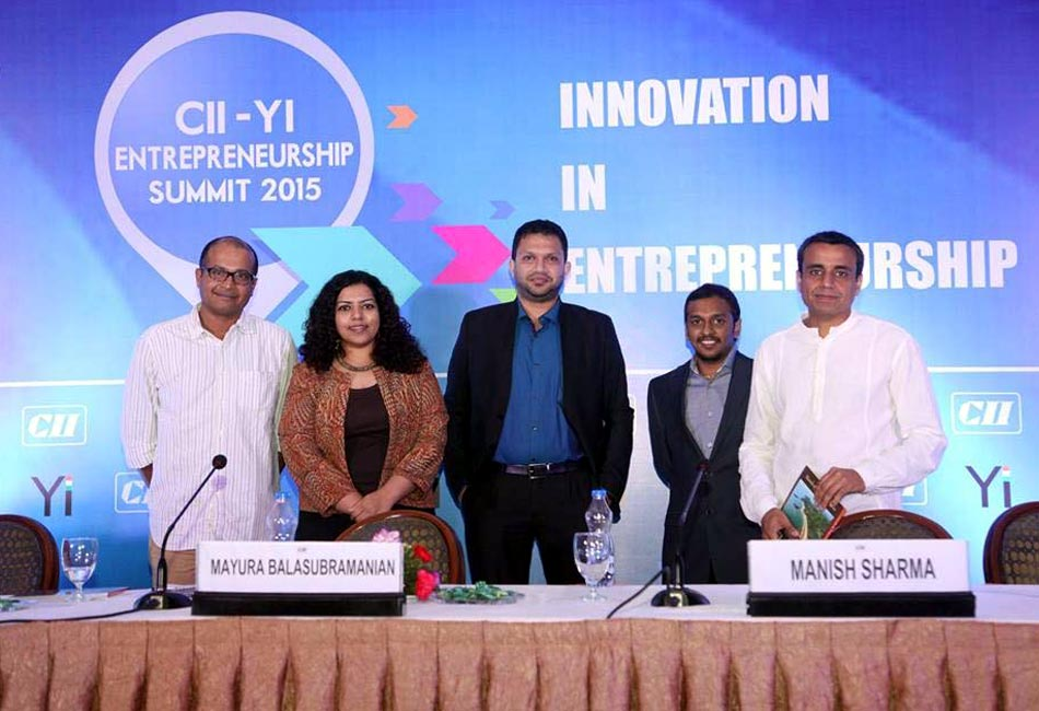 "Craftizen's Founder moderating a panel discussion on ""Entrepreneur's Journey"" at CII - Young Indians Entrepreneurship Summit in Bangalore on Feb 21st 2015."